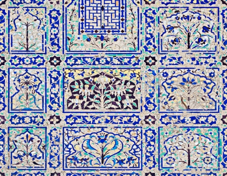 universally: AGRA, INDIA - APRIL 09: Pattern on Taj Mahal on April 09, 2012 in Agra, India. Taj Mahal is widely recognized as the jewel of Muslim art and one of the universally masterpieces of the world