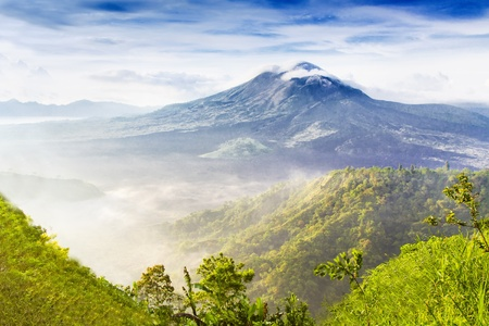 Batur volcano on the sunrise photo