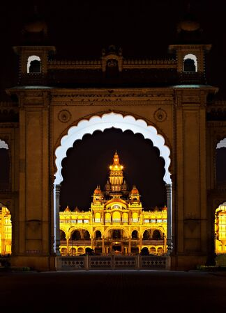 karnataka: Mysore palace at night, Mysore, India