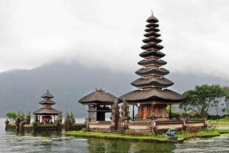 BALI, INDONESIA - FEBRUARY 26: Beautiful Ulun Danu temple build in traditional architecture style on February, 26, 2011, Bali, Indonesia