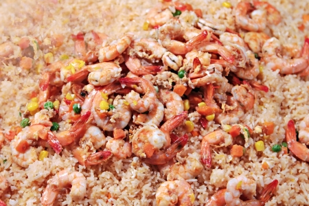 Shrimps with rice on Thailand street market photo