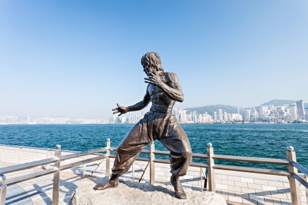 HONG KONG, CHINA - FEBRUARY 21: Bruce Lee statue at the Avenue of Stars on February, 21, 2013, Hong Kong, China.