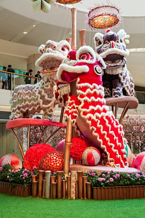 HONG KONG, CHINA - FEBRUARY 21: New Year dragon toys in the shopping mall on February, 21, 2013, Hong Kong, China. Chinese New Year is a main holiday in HK, and dragon is a symbol of this holiday.
