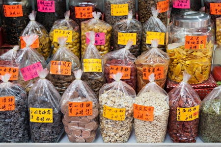 HONG KONG - MARCH 19: Dry fruits in the glocery store at Wing Lok Street on March, 19, 2013. Wing Lok street is a very popular shopping place in Hong Kong.