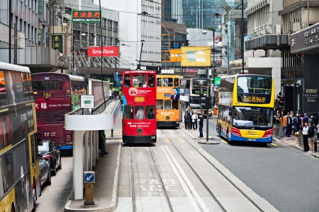 HONG KONG - MARCH 19: Public transport on the street on March 19, 2013 in Hong Kong. Over 90% daily travelers use public transport. Its the highest rank in the world.