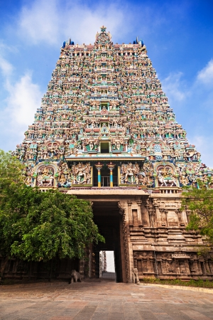 Gopuram of Meenakshi Temple in Madurai, India photo