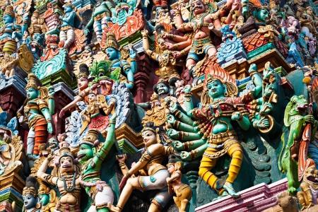 kerala culture: Detail of Meenakshi Temple in Madurai, India