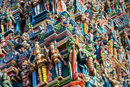 south india: Detail of Meenakshi Temple in Madurai, India