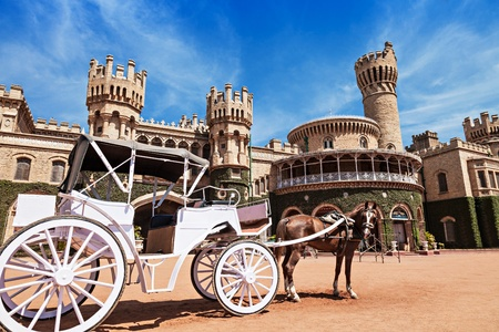 king palace: White carriot near the Bangalore King Palace Editorial