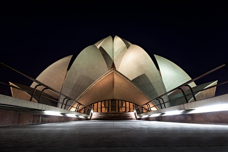 the house of worship: NEW DELHI, INDIA - APRIL 08: Lotus Temple on April 08, 2012, New Delhi, India.The Bahai House of Worship in New Delhi, popularly known as the Lotus Temple due to its flowerlike shape Editorial