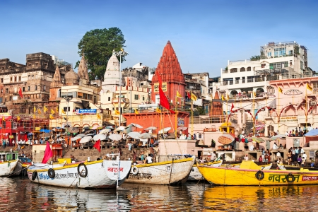 reincarnation: VARANASI, INDIA - APRIL 12: Boats at the river ganges on the auspicious Maha Shivaratri festival on April 12, 2012 at Dasashwamedh ghat in Varanasi, Uttar Pradesh, India
