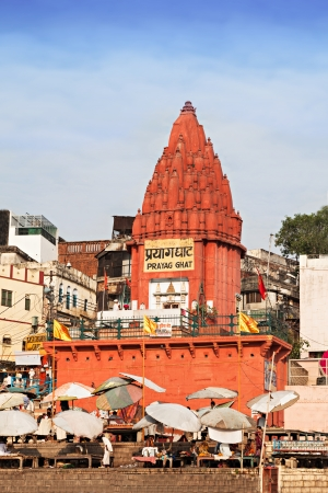 VARANASI, INDIA - APRIL 12: Prayag ghat temple on Ganga bank on April 12, 2012 in Varanasi, Uttar Pradesh, India