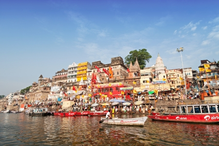 VARANASI, INDIA - APRIL 12: Boats at the river ganges on the auspicious Maha Shivaratri festival on April 12, 2012 at Dasashwamedh ghat in Varanasi, Uttar Pradesh, India
