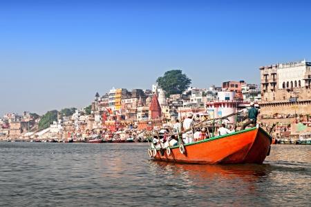 VARANASI, INDIA - APRIL 12: Boat at the river ganges on the auspicious Maha Shivaratri festival on April 12, 2012 at Dasashwamedh ghat in Varanasi, Uttar Pradesh, India