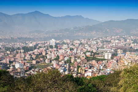 Panorama view to Kathmandu city from Swayambhunath temple Stock Photo - 22092208