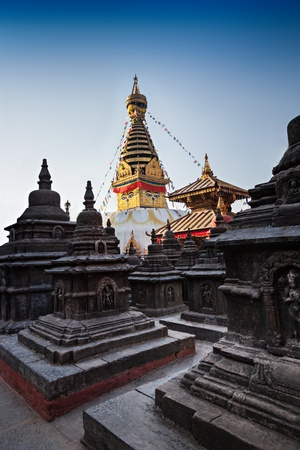 Swayambhunath is an ancient religious complex atop a hill in the Kathmandu Valley.  photo