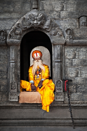 KATHMANDU - APRIL 15: Sadhu at Pashupatinath Temple in Kathmandu, Nepal on April 15, 2012. Sadhus are holy men who have chosen to live an ascetic life and focus on the spiritual practice of Hinduism Stock Photo - 22053472