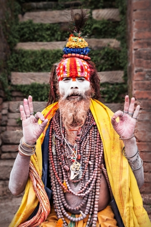 KATHMANDU - APRIL 15: Sadhu at Pashupatinath Temple in Kathmandu, Nepal on April 15, 2012. Sadhus are holy men who have chosen to live an ascetic life and focus on the spiritual practice of Hinduism Stock Photo - 22053481