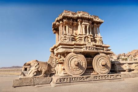 Chariot and Vittala temple at Hampi, India Stock Photo - 22100632