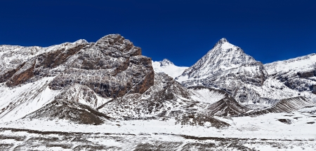 Mountains around Tilicho lake in Himalaya, Annapurna region, Nepal Stock Photo - 22100653