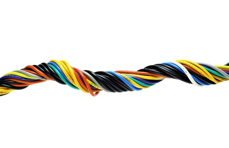 Multicolored computer cable isolated on white Stock Photo - 22100864