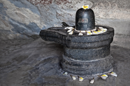 Monolith shiva lingam in the cave, India Stock Photo - 22100983