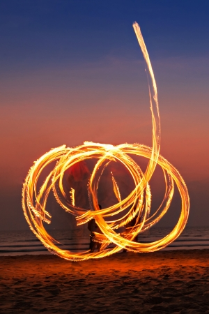 Beauty fire show at the beach, Goa Stock Photo - 22100996