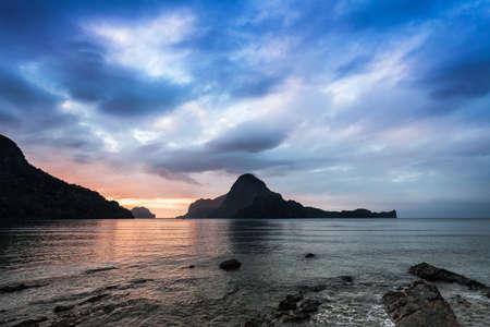 Beauty sunset in El Nido, Palawan, Philippines photo