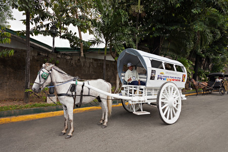MANILA, PHILIPPINES - MARCH 18: Horse with carriage in Intramuros on March, 18, 2013, Manila, Philippines. Intramuros is the oldest district and historic core of Manila,  capital of the Philippines.