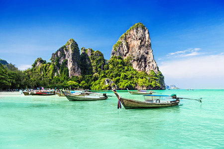 Longtale boats at the beautiful beach, Thailand 스톡 콘텐츠