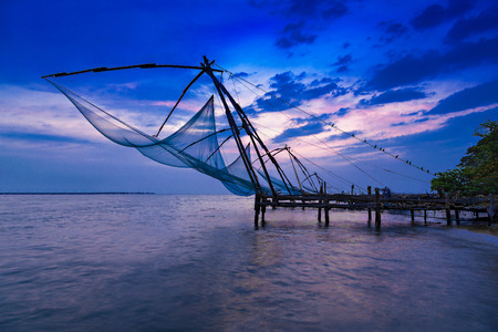 Traditional chinese fishing net at Fort Cochin, India photo