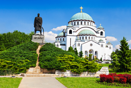 balkan: St. Sava Cathedral and Karadjordje (Serbian political leader) statue, Belgrade
