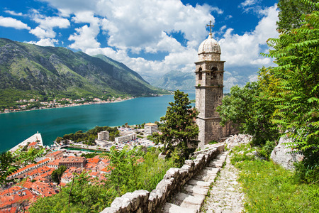 kotor: Old church inside Stari Grad, Kotor, Montenegro Stock Photo