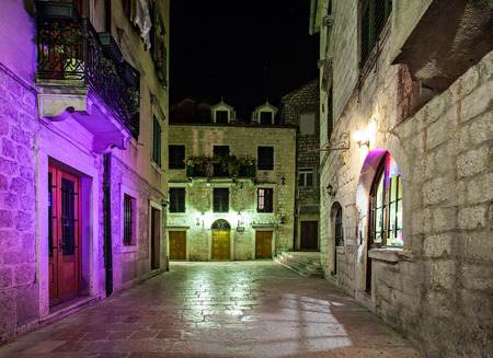 Old street inside Stari Grad, Kotor, Montenegro photo
