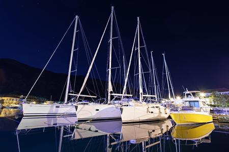 Yachts in the harbor, Kotor bay, Montenegro photo