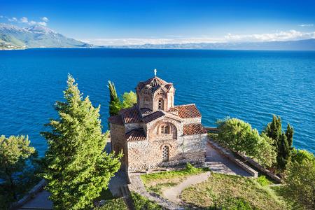 Kerk van St. John in Kaneo, Ohrid, Macedonië Stockfoto
