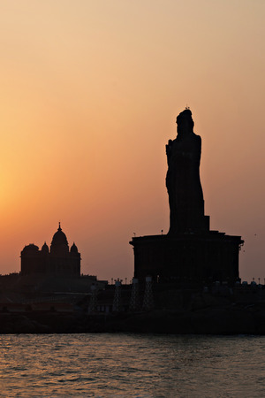 Vivekananda Rock Memorial and Thiruvalluvar Statue at sunrise, India photo