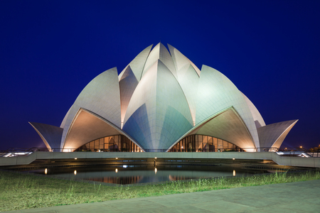 NEW DELHI, INDIA - APRIL 08: Lotus Temple on April 08, 2012, New Delhi, India. The Bahai House of Worship in New Delhi, popularly known as the Lotus Temple due to its flowerlike shape. Editorial