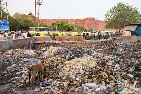 NEW DELHI, INDIA - APRIL 10: Big garbage heap and unidentified people on the street on March 27, 2012, New Delhi, India. India is a very dirty country.