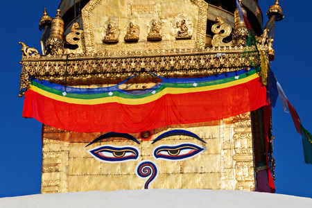 Swayambhunath is an ancient religious complex atop a hill in the Kathmandu Valley.