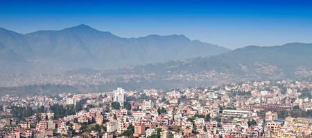 Panorama view to Kathmandu city from Swayambhunath temple Stock Photo