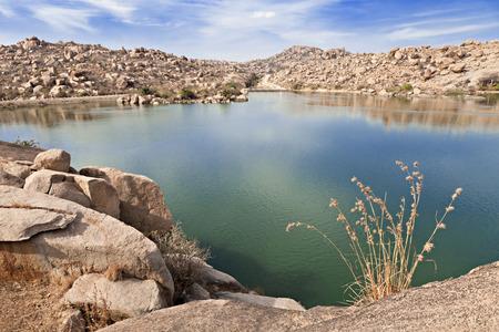 Beauty lake in Hampi, Karnataka, India Stock Photo