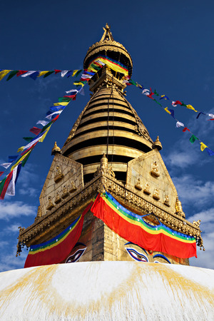 Swayambhunath is an ancient religious complex atop a hill in the Kathmandu Valley. Stock Photo