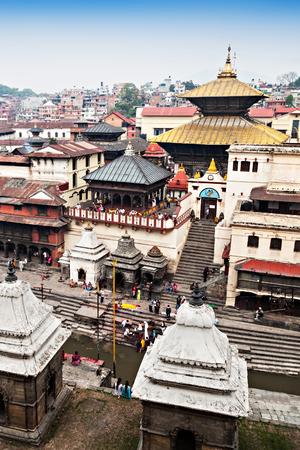 Panorama view of Pashupatinath temple and cremation ghats, Khatmandu Stock Photo