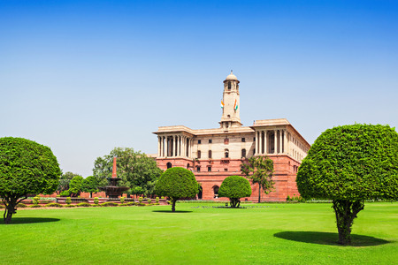 Rashtrapati Bhavan is the official home of the President of India, New Delhi, India. Stock Photo