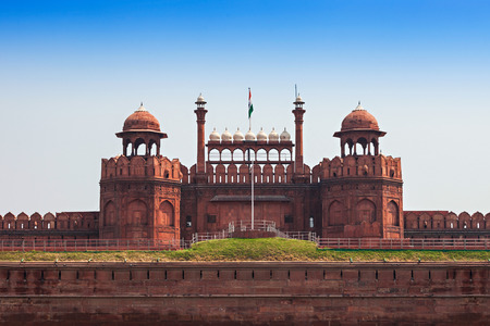 The Red Fort is a large fort complex located in Delhi Stock Photo