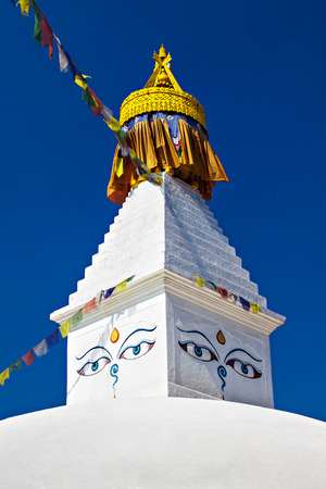 Boudhanath stupa is one of the holiest Buddhist sites in Kathmandu, Nepal. Stock Photo
