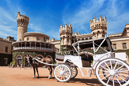 White carriot near the Bangalore King Palace Stock Photo