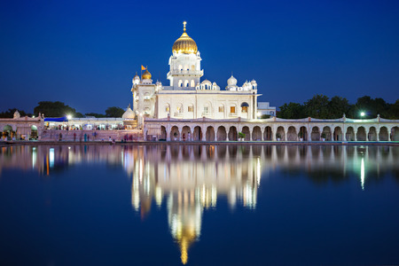 dome of hindu temple: Gurdwara Bangla Sahib is the most prominent Sikh gurdwara Stock Photo
