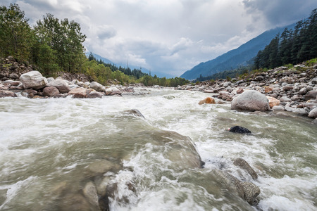 Beas river in Manali town, Himalaya, India